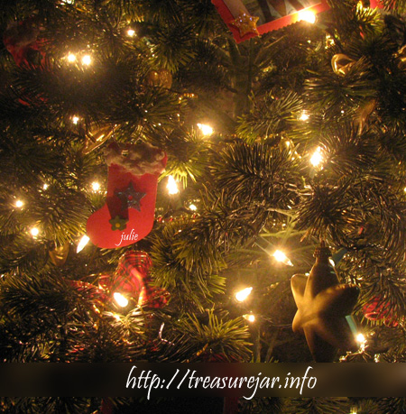 home-made Christmas tree trimmings