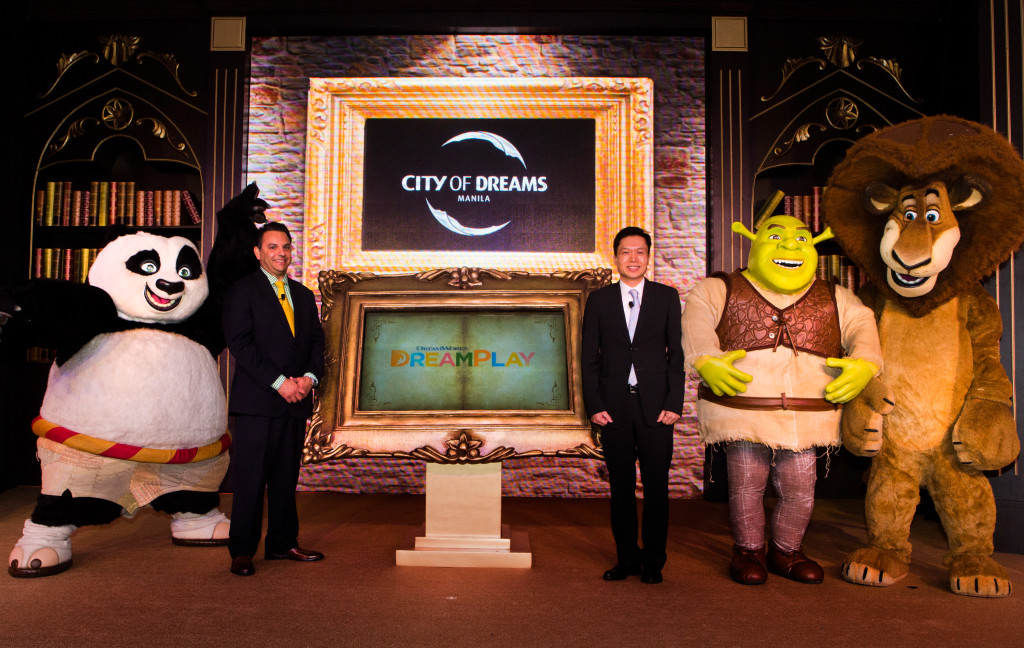 DreamWorks Animation's beloved characters Po from Kung Fu Panda; Shrek; and Alex the Lion from Madagascar, join executives Mr. Clarence Chung Chairman and President of Melco Crown Philippines and Mr. James Clark, Head of Retail Development and Entertainment for Asia Pacific of DreamWorks Animation, at the official announcement of the DreamPlay edutainment center at City of Dreams Manila.