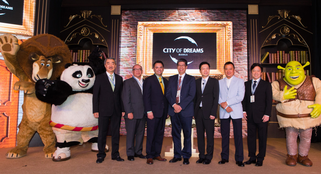 Celebrating the announcement of City of Dreams Manila's introduction of DreamWorks Animations and the DreamPlay edutainment center to its planned thrilling entertainment and leisure destination resort at Entertainment City, Manila.   DreamWorks characters join Mr. Jorge Sarmiento, President of PAGCOR, with Mr. Clarence Chung, Chairman and President of Melco Crown Philippines; Mr. James Clark, Head of Retail Development and Entertainment for Asia Pacific of DreamWorks Animation; along with SM Group partners.