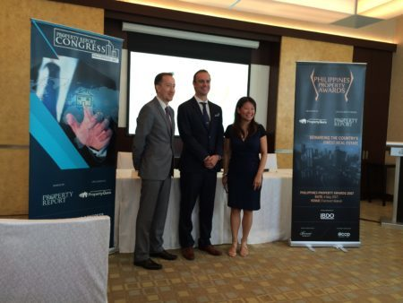 Paul Ashburn (BDO), Terry Blackburn (Asia Property Awards) and Cindy Jarabata (Tajara Leisure & Hospitality Group)